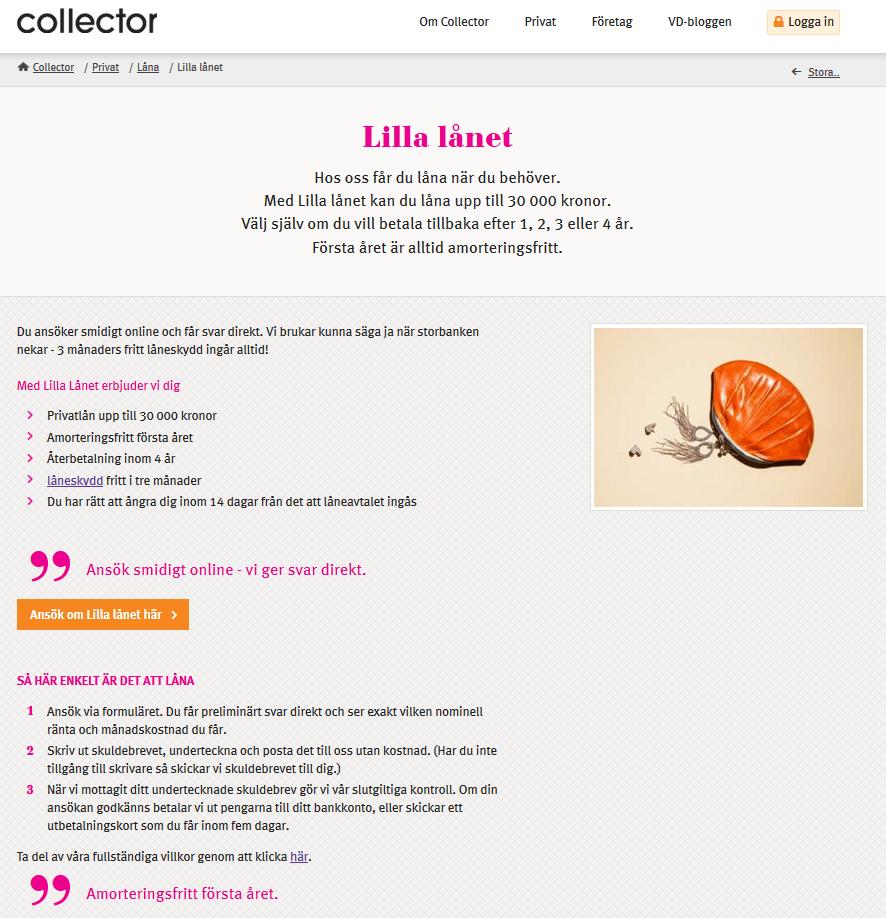 Collector privatlån Lilla Lånet