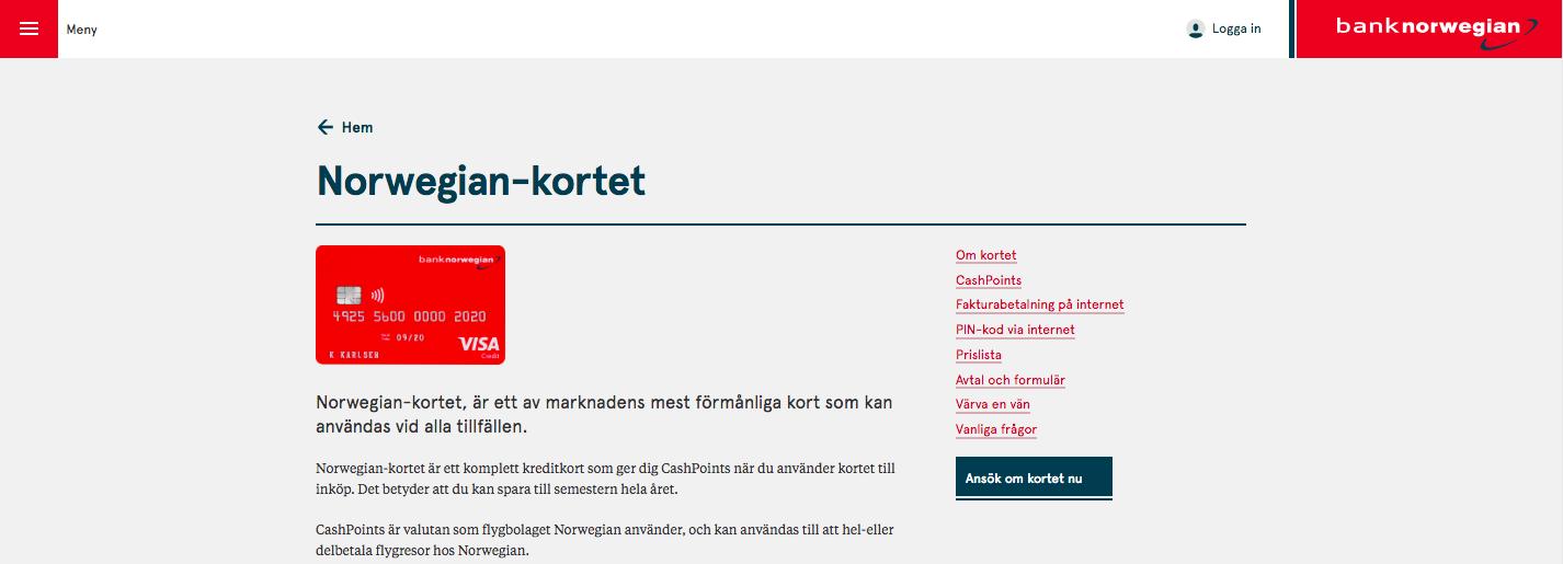 Bank Norwegian kreditkort faktura får man hem varje månad med förfallodatum den 28!