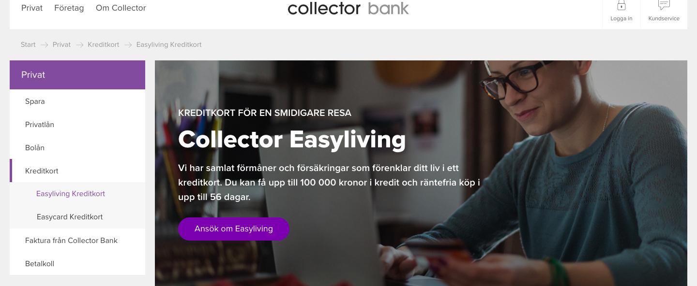 Vad har Collector easyliving ränta på sina kreditkort?