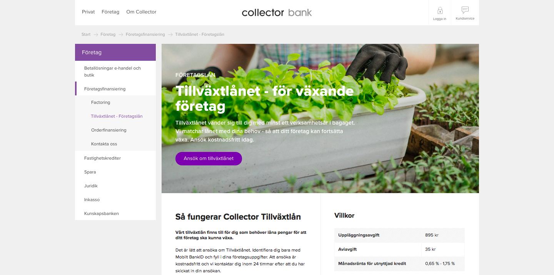Vad har Collector tillväxtlån omdöme av tidigare kunder?