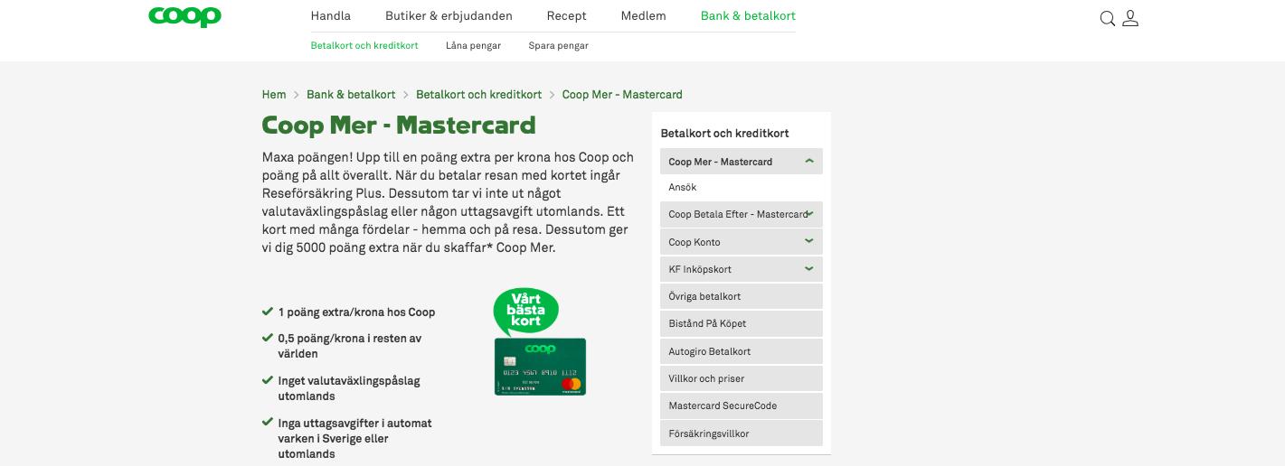 Hur mycket kostar Coop kreditkort uttag i Sverige?