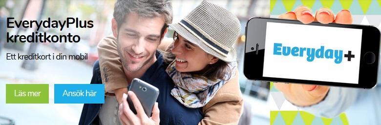 Everydayplus kredit - kreditkort i mobilen - kreditkort online - kreditkonto 20 000 kr