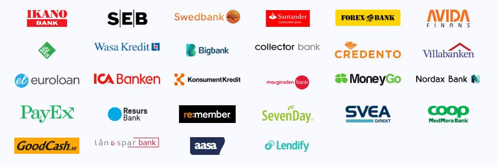 Lendo banker - samarbetar med 25 banker och långivare!