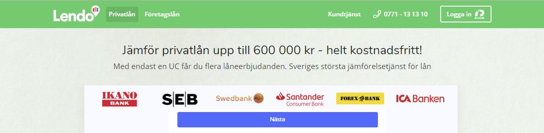 Lendo privatlån - låna upp till 600 000 kr med endast en UC kreditupplysning!