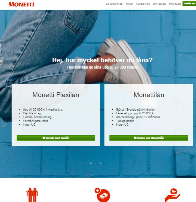 Monetti Flexi Kredit är till för de kunder som söker flexibelt kreditlån med bra villkor!