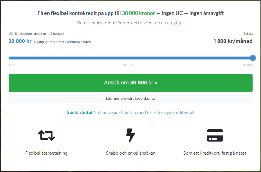 Smspengar kredit - flexibel kontokredit på upp till 30 000 kr utan uc kontroll!