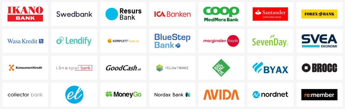 Vilka banker samarbetar Sambla med? 28 Sambla banker och långivare!