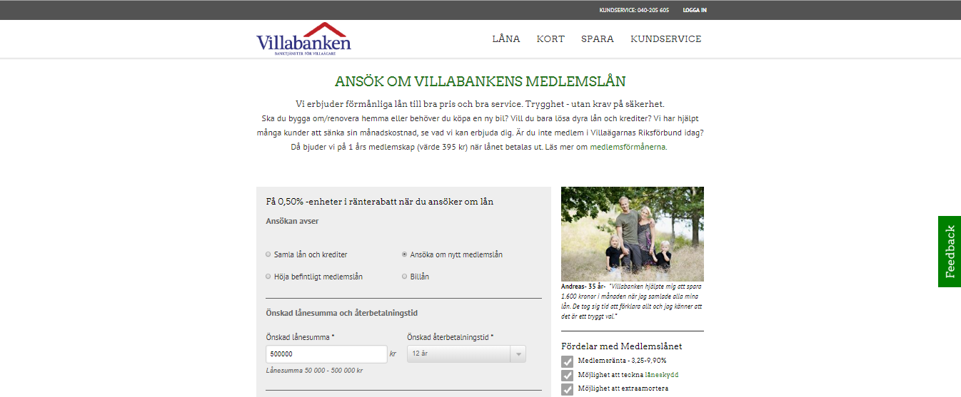 Villabanken privatlån är ett förmånligt medlemslån för villaägare!