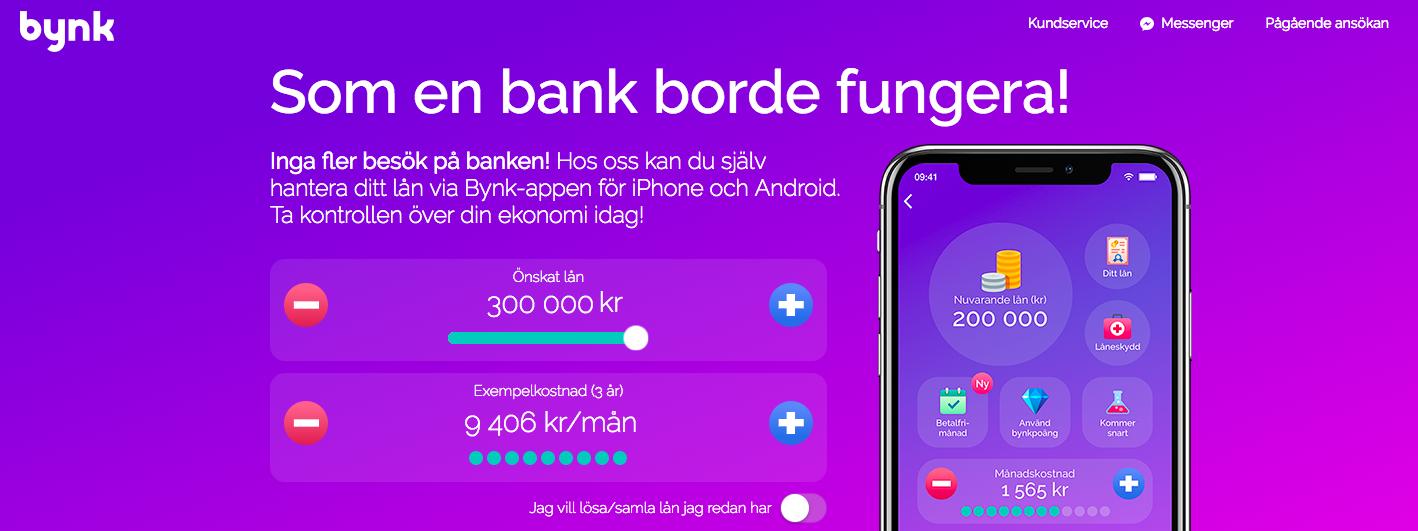 Bynk erbjuder lån i en fräsch förpackning i form av en snygg app!