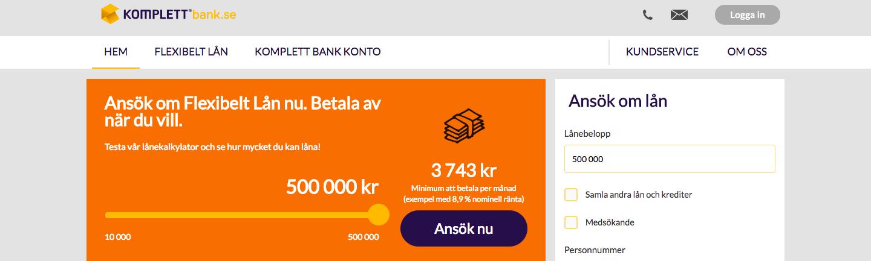 Komplett Bank lån med snabbt svar och pengar in på kontot samma dag!