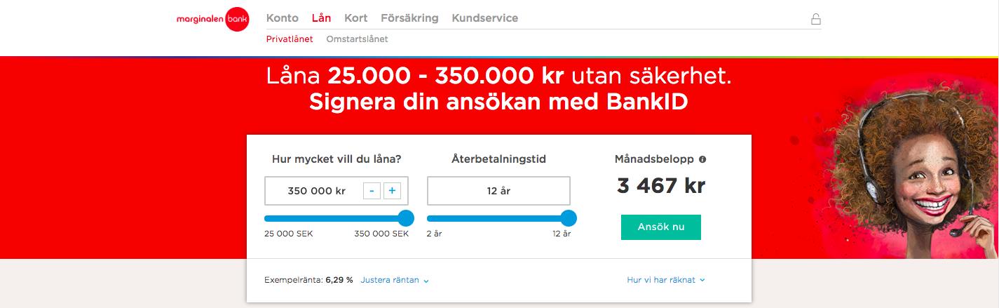 Marginalen Bank erbjuder bra lån möjligheter till sina kunder!