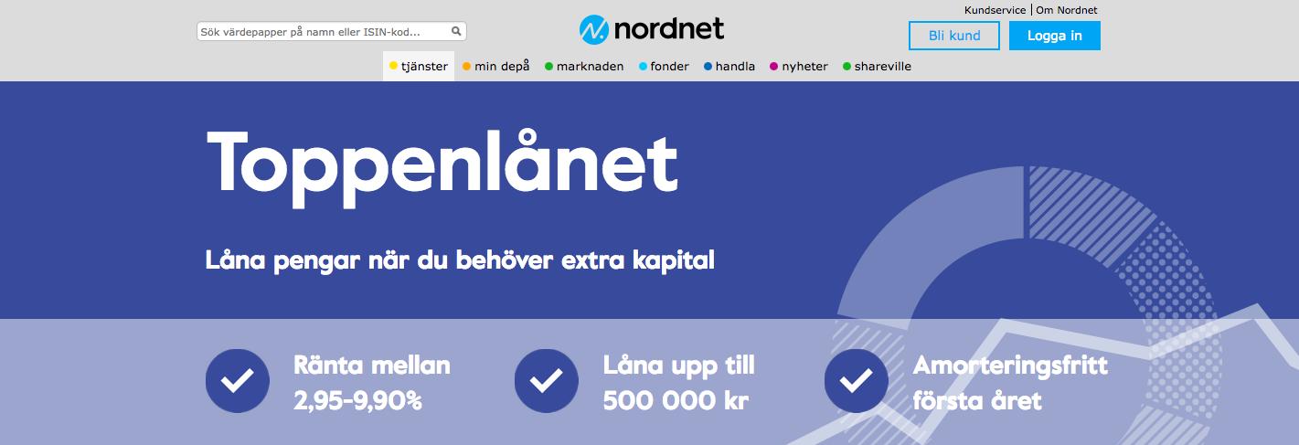 Nordnet toppenlånet är lätta att komma i kontakt med gällande info om deras lånerbjudande!